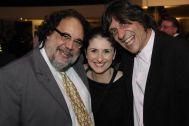 Fernando Bueno, Eduardo Bueno e Karin Souza na festa do Sindilojas